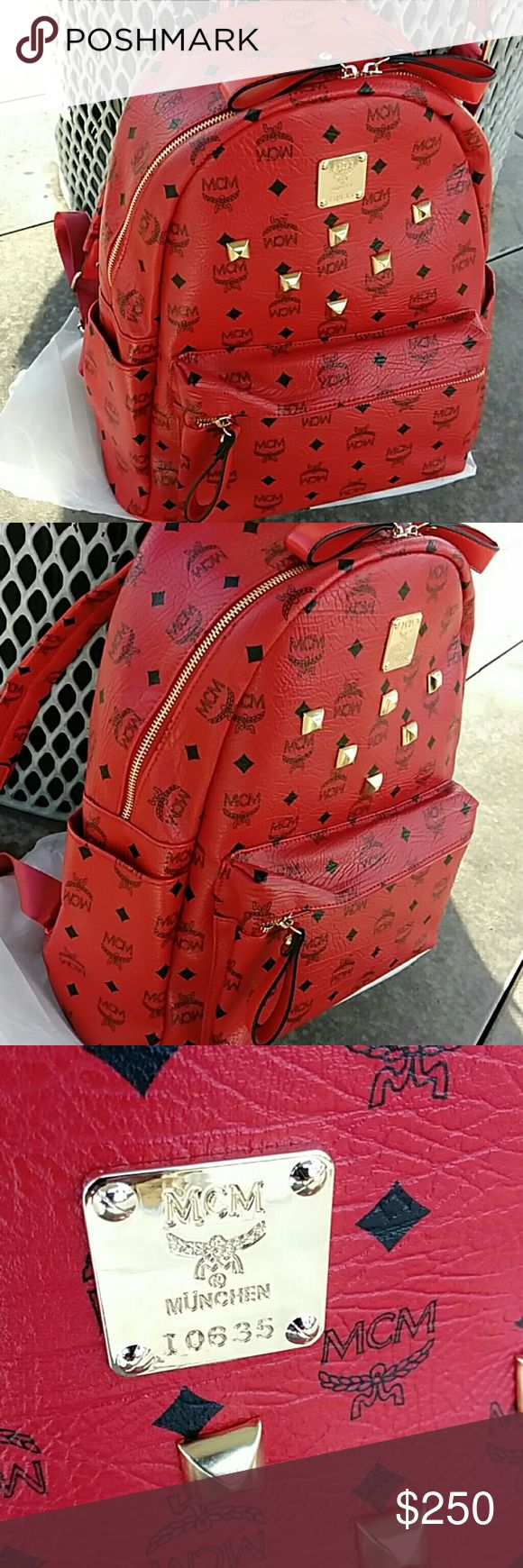 MCM BACKPACK RUBY RED MEDIUM BRAND NEW COMES WITH DUST BAG STARK INSPIRED PRICE FIRM SEE PICS. MCM Bags Backpacks