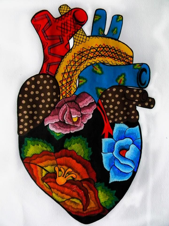 Great Pictures mexican Embroidery Designs Suggestions Embelleshment can be a stunning strategy to light up your home as well as a terrific passion in order to spen Coeur Tattoo, Arte Latina, Mexican Paintings, Mexican Embroidery, Folk Embroidery, Embroidery Designs, Embroidery Hearts, Mexico Art, Mexican Folk Art