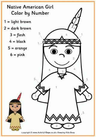 native american girl colour by number plus several other color by number sheets - Coloring Pages Number Girls