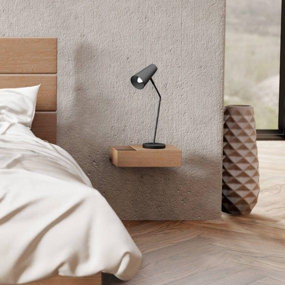 Schmaler Schwebender Nachttisch Aus Eichen Holz Nachttisch Zur
