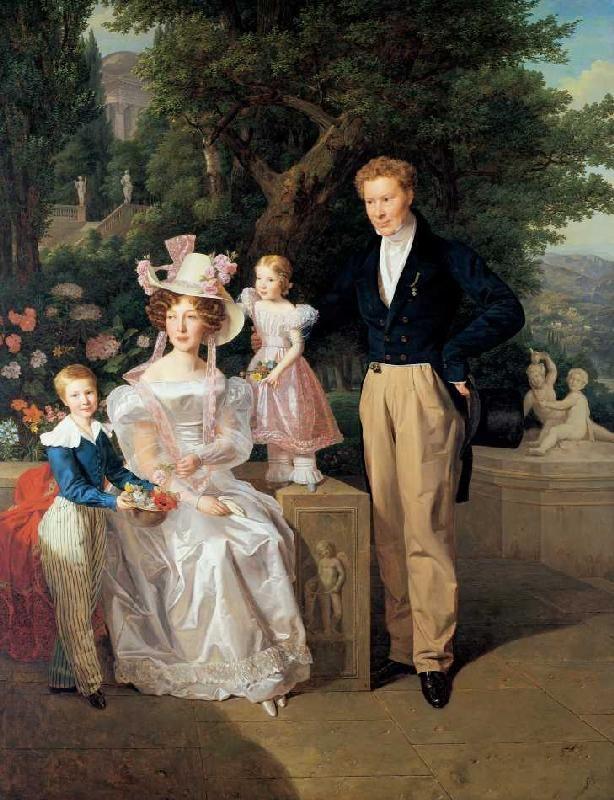 Bild:  Ferdinand Georg Waldmüller - Die Familie Neuhaus. Legationsrat Ritter von Neuhaus (um1770-1855) mit Frau u.K