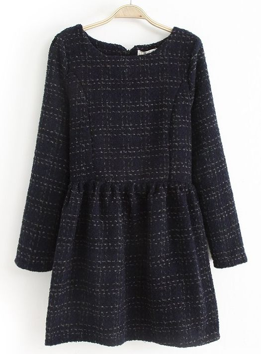 Navy Long Sleeve Striped Pleated Dress