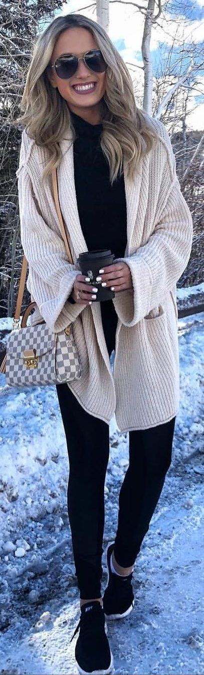 #winter #outfits white corduroy cardigan