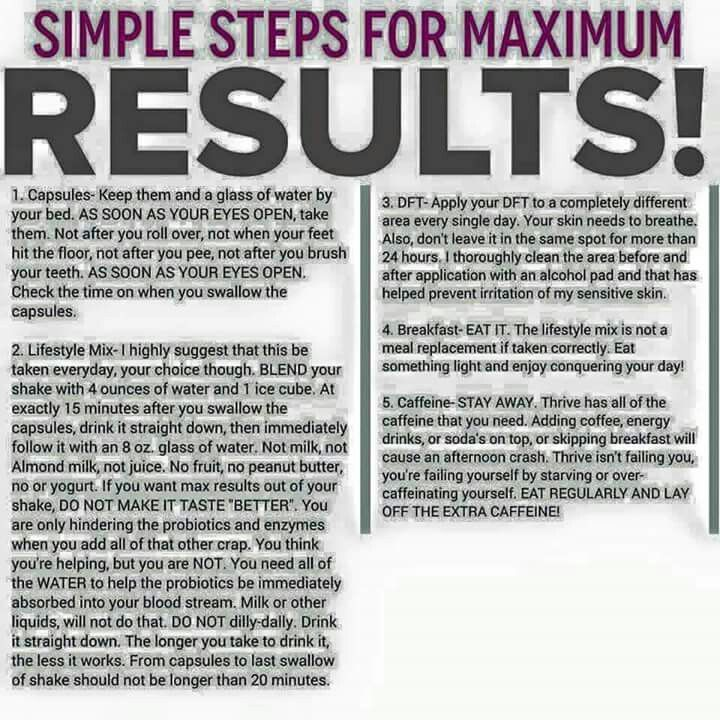 Maximum Results Towards Taking The 3Easy Steps of Thrive!: Capsules, Shake Mix & DFT patches Follow these Instructions!! Khaddock.le-vel.com