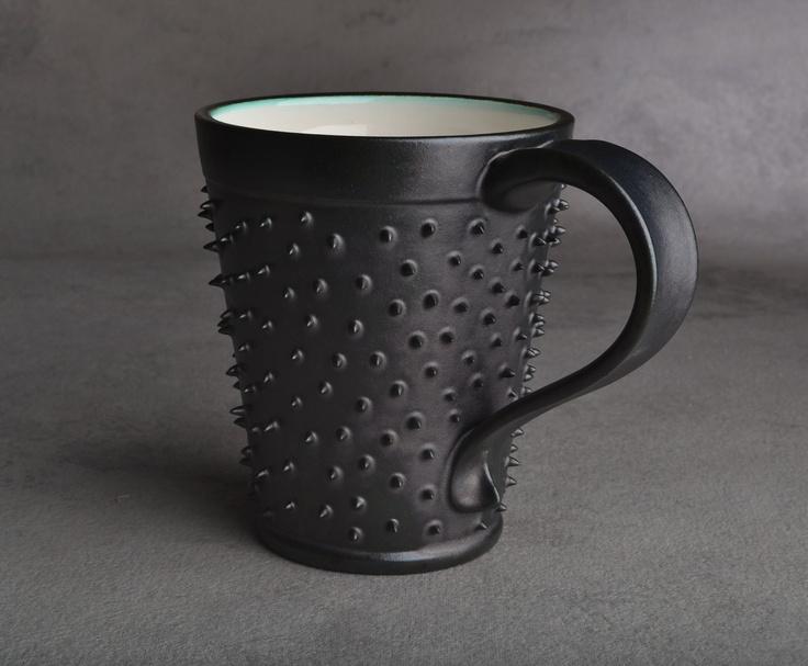 Spiky Mug: Made To Order Black and White Dangerously Spiky Mug by Symmetrical Pottery. $20.00, via Etsy.