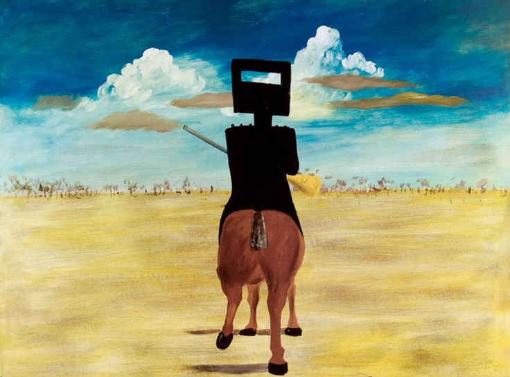The meeting of two icons on a broad, blue canvas. Sidney Nolan and Ned Kelly - name a more iconic duo  #nedkelly #australia #australianart #bushranger #outback #art #icon #sidneynolan #fineart #bush #legendary