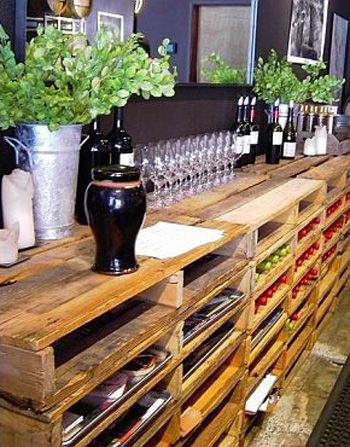 recycled pallets for wine storage and bar love this look diy pallet shelves would be great for art storage toys and so much more