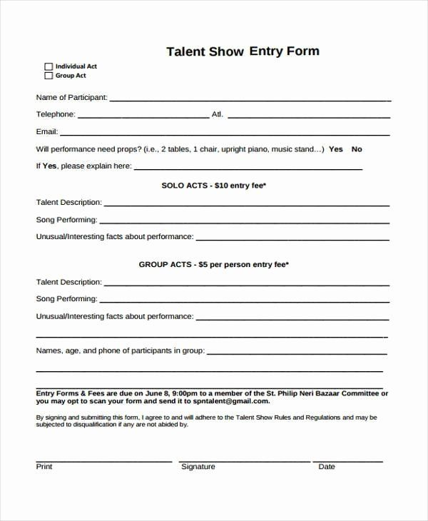 Free Printable Contest Entry Form Template Elegant 10 Talent Show Registration Form Samples Free Sample Registration Form Sample Free Word Document Templates