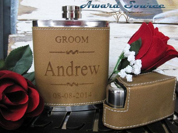 1 Personalized Groomsmen Gift Flask Set with 3 by AwardSourceLLC, $15.50