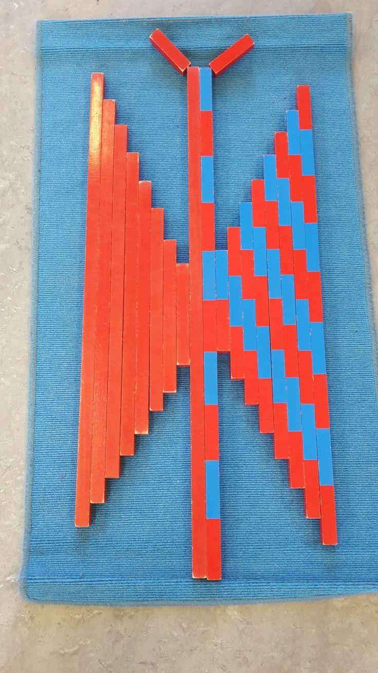 vlinder van rekenstokken en rode stokken - MontessoriNet                                                                                                                                                                                 More