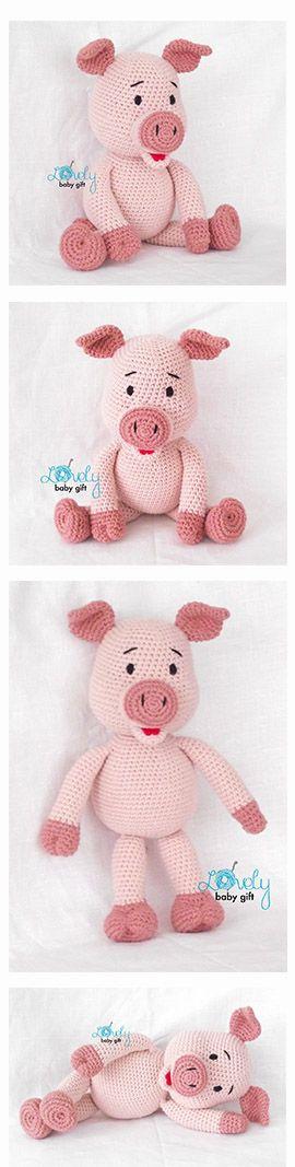 Pig, piglet crochet pattern, häkelanleitung, haakpatroon, hæklet mønster, modèle crochet