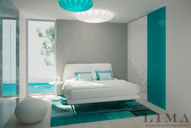 Zöld, türkiz, fehér hálószoba kombináció
