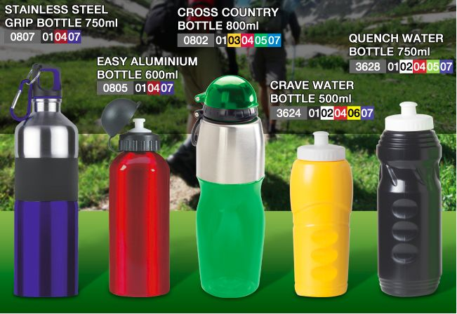 Bottle Range for your travelling, sport and camping needs. Request a price. info@glowmore.info