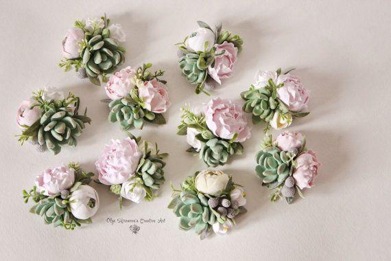 Succulent Corsage Bracelet Wedding flowers by CoolClayFlowers