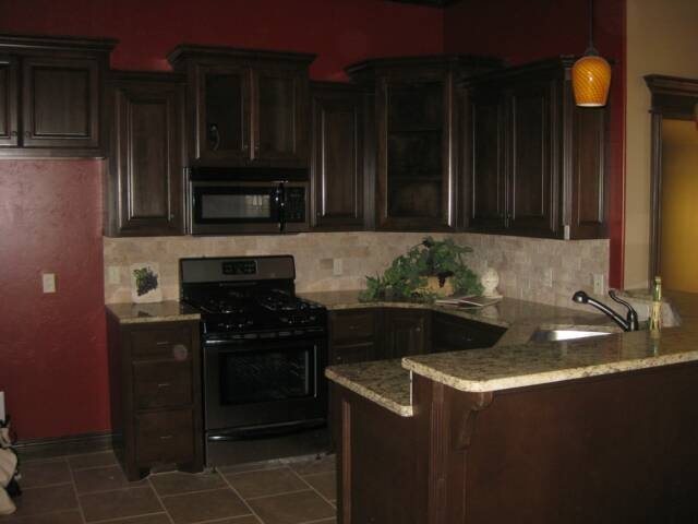 Trying to talk him into burgundy kitchen walls kitchens for Burgundy kitchen cabinets pictures