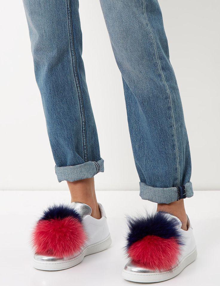 White & Silver Fur Pom Pom Slip-On Sneakers / Joshua Sanders