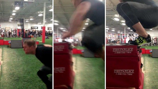 NFL's JJ Watt makes incredible 5-foot vertical leap for Reebok   Daily Mail Online