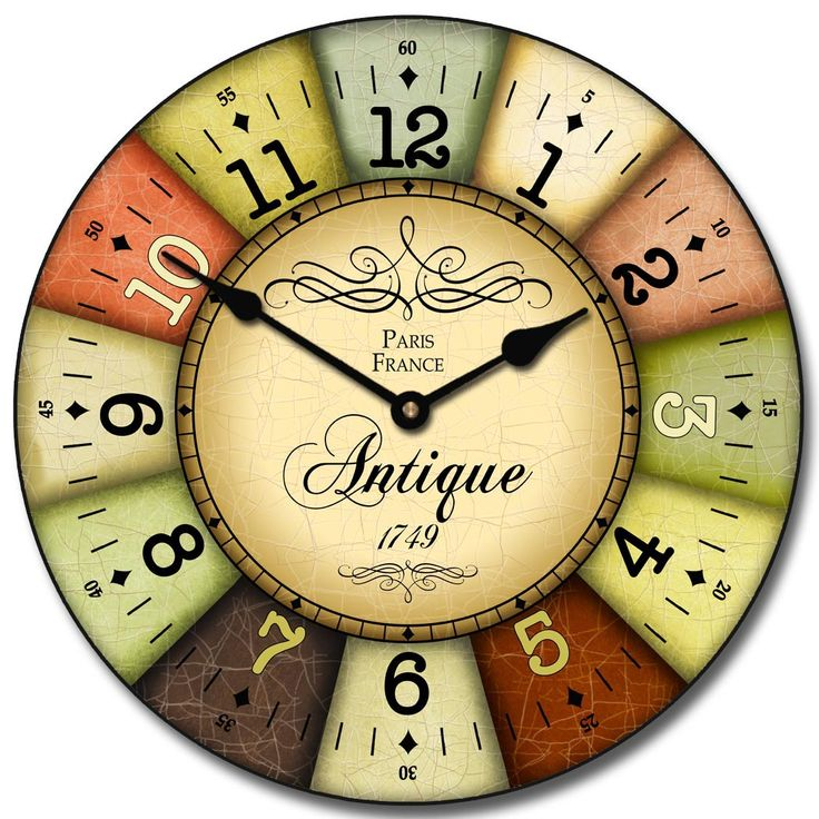 Combination Of Beautiful Colors Sets Off The Design Of This Vintage Style  French Wall Clock Many
