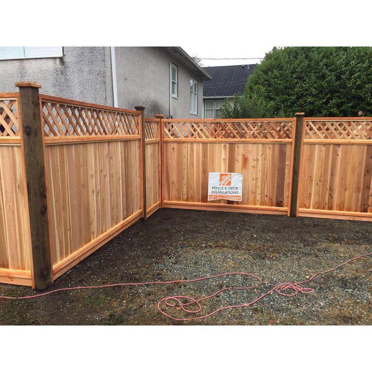 6 ft x 8 ft premium cedar lattice top fence panel with
