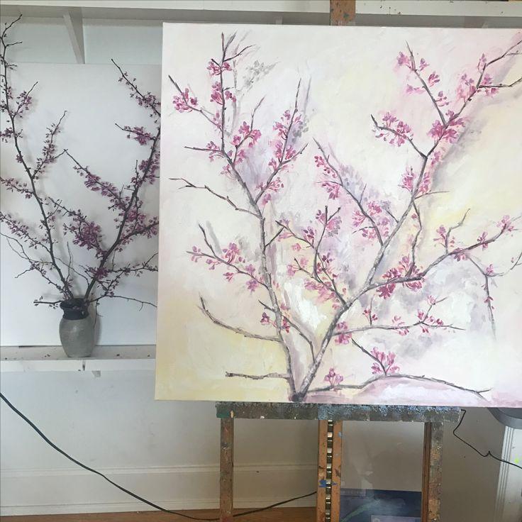 Redbud trees, Mississippi, 36x36, oil painting, www.peytonhutchinson.com