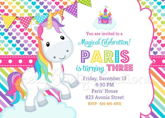 LITTLE UNICORN invitation YOU Print by PrettyPartyCreations