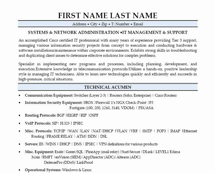 Network Administrator Resume Example Unique 9 Best Best Network Engineer Resume Template In 2020 Executive Resume Template Resume Examples Engineering Resume Templates
