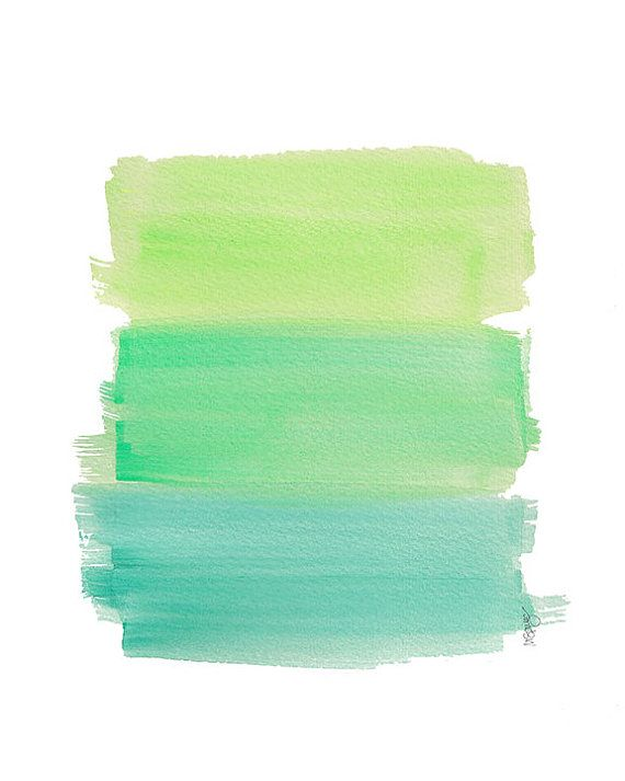 Aqua Ombre Watercolor Art Print Dip Dyed Art Green Turquoise Aqua Beach Decor Ocean Art Coastal Art