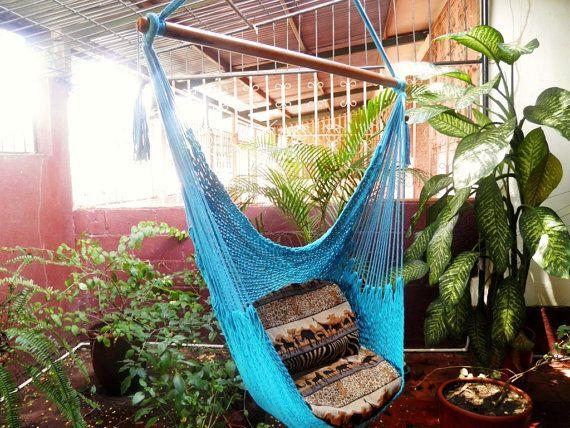 bleu turquoise magnifique chaise hamac fait main en coton pour la d coration ou de cadeau. Black Bedroom Furniture Sets. Home Design Ideas