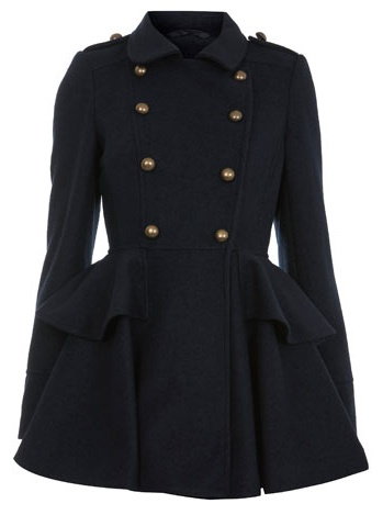 2012/2013 Winter Coat - navy peplum military coat from Miss Selfridge - The LC Issue