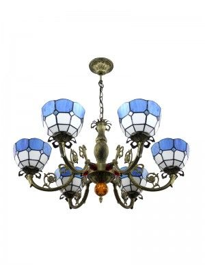 """8"""" Iron Base Blue Stained Glass Meditteranean Tiffany Pendant Lamp with 6 Lights"""