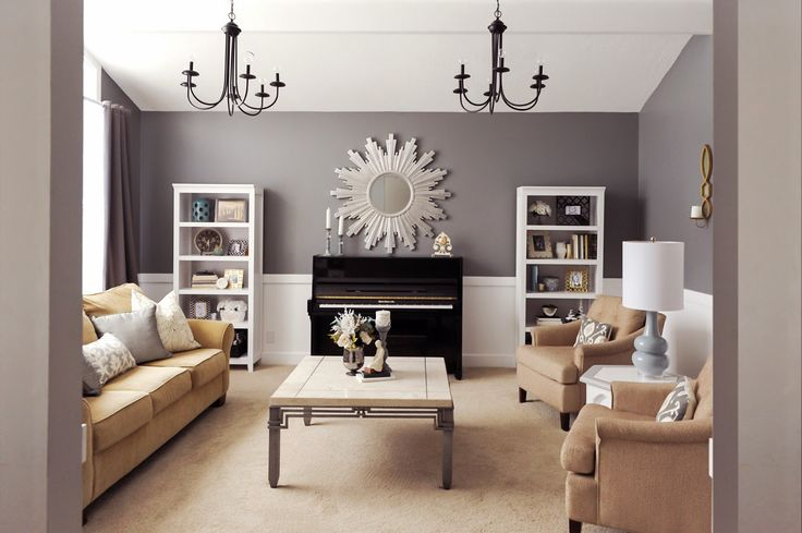 Studio 7 Interior Design: Client Reveal:Transitional Chic Formal Living Room...cityscape- accent wall
