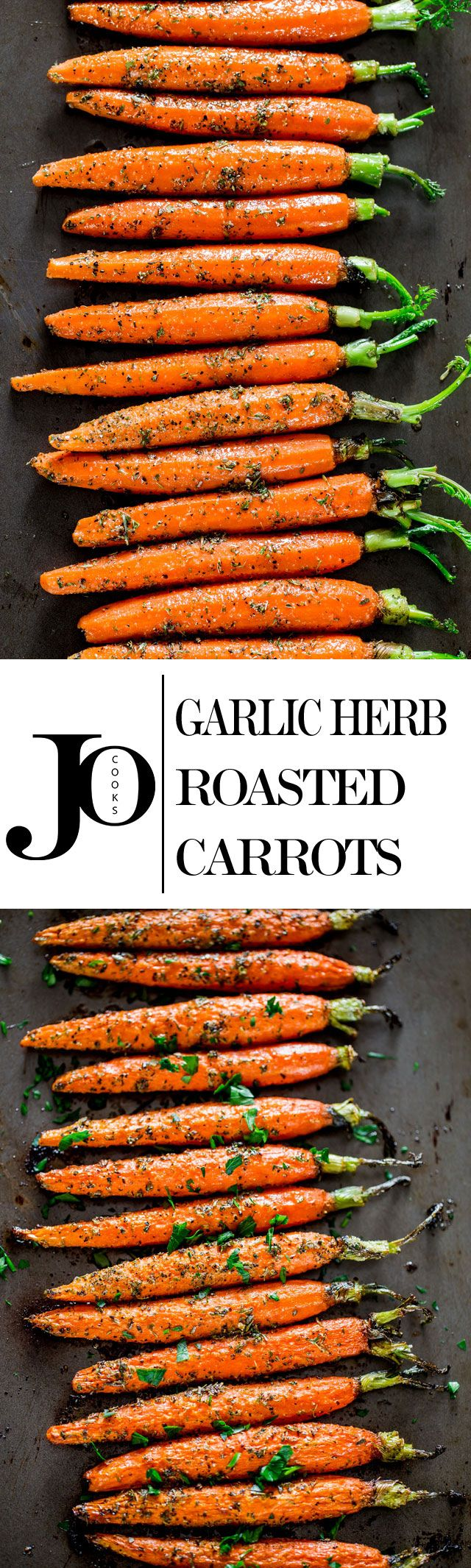 Garlic and Herb Roasted Carrots - Jo Cooks - these carrots are roasted to perfection with lots of garlic and herbs such as thyme, basil and oregano, creating the perfect side dish.