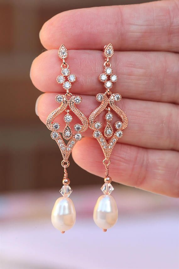 e5967ca42 Vintage style earrings with Swarovski pearls******* Colour: rose gold/clear/light  ivory or silver tone /rhodium Stud earrings. Measurements: approx 6.2 cm ...