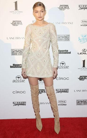 GigiHadidDaily: #GigiHadid attends the SI Swimsuit 2016 Swim BBQ VIP in Miami wearing #Lesilla over the knee boots. From GigiHadidDaily closet LE SILLA 110毫米弹性麂皮过膝靴, 米黄色