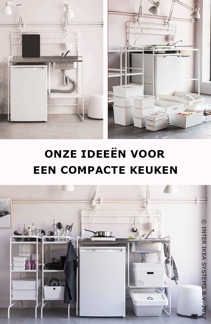 Wil je een compacte keuken? Ga dan voor een praktische kitchenette die je verankerd in de muur met schroeven en voeg er nog wat taakverlichting aan toe. SUNNERSTA Kitchenette, 149,99/st. #IKEABE #IKEAidee  Need a compact kitchen? Opt for a SUNNERSTA kitchen that's secured to the wall and add some task lighting. SUNNERSTA Mini-kitchen, 149,99/pce. #IKEABE #IKEAidea