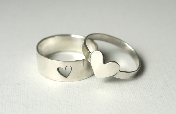 Silver Heart Couple Rings. $100.00, via Etsy.