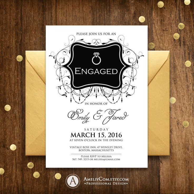 Engagement Invitation Printable, Black Engaged party invitation template, Engagement invitation, engagement party invite, engagement party