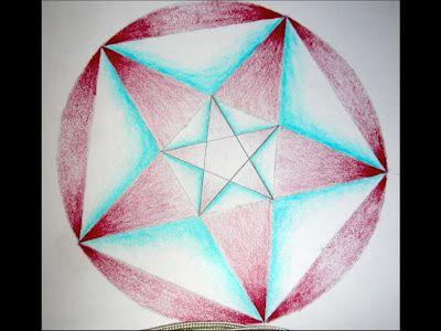 Waldorf ~ 6th grade ~ Geometric Drawing ~ Nesting Pentagons in a Circle ~ main lesson book