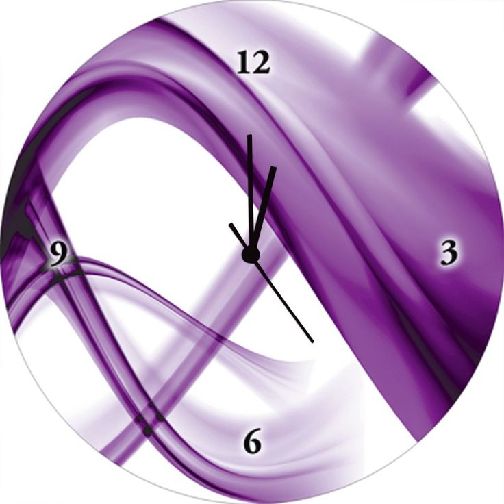 Benedict Bocos: Abstrakte Komposition (violett)   Wanduhr Auf Glas 35 X 35  Cm Artland Abstrakte Motive Dekorativ