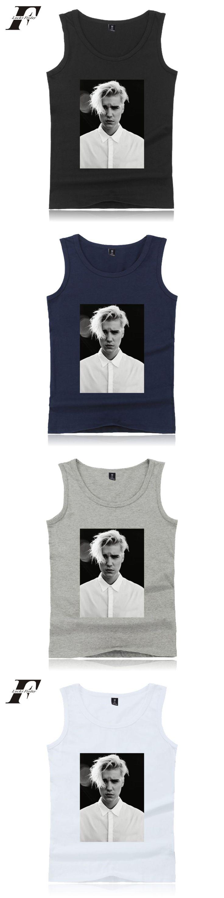 2017 New Justin bieber Print Vest Men's / Women's Fitness Tank Top Healthy Kpop Shirt Dress Summer Cotton Vest size XXS-4XL
