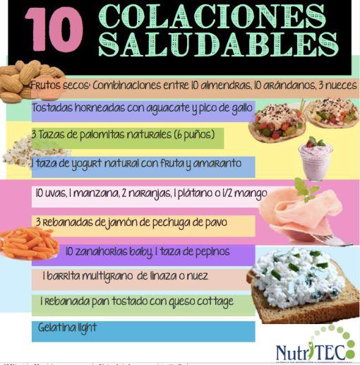 Colaciones saludables, entre comidas