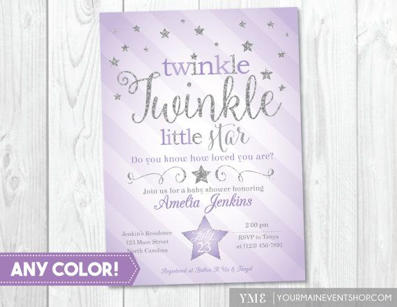11 best twinkle twinkle little star baby shower party images on purple silver twinkle twinkle little star baby shower invitation twinkle twinkle shower invitation filmwisefo Choice Image