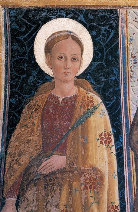 Giovanni Angelo d'Antonio - Santa Caterina d'Alessandria - 1475-1478 ca. - affreschi strappati da edicola viaria - Camerino, Pinacoteca civica