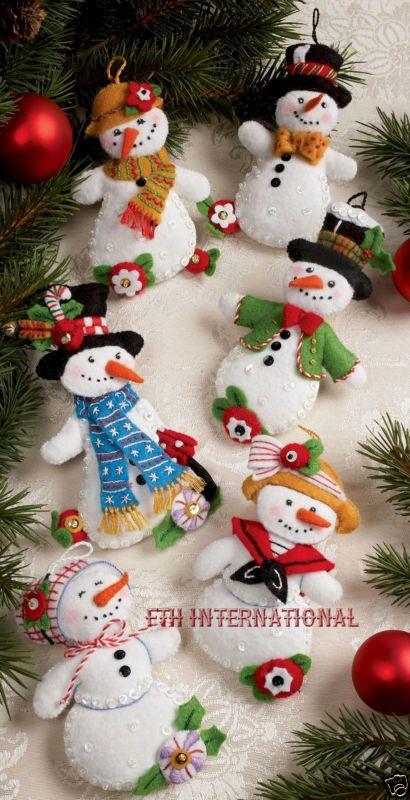 bucilla let it mueco de nieve piezas fieltro de navidad ornamento kit n