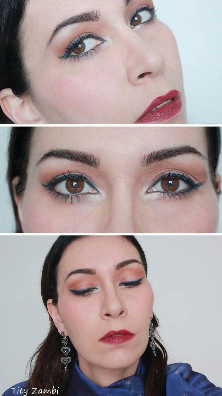 Make-up elegante da sera con eyeliner blu e rossetto rosso. #truccosera #makeup #truccoelegante