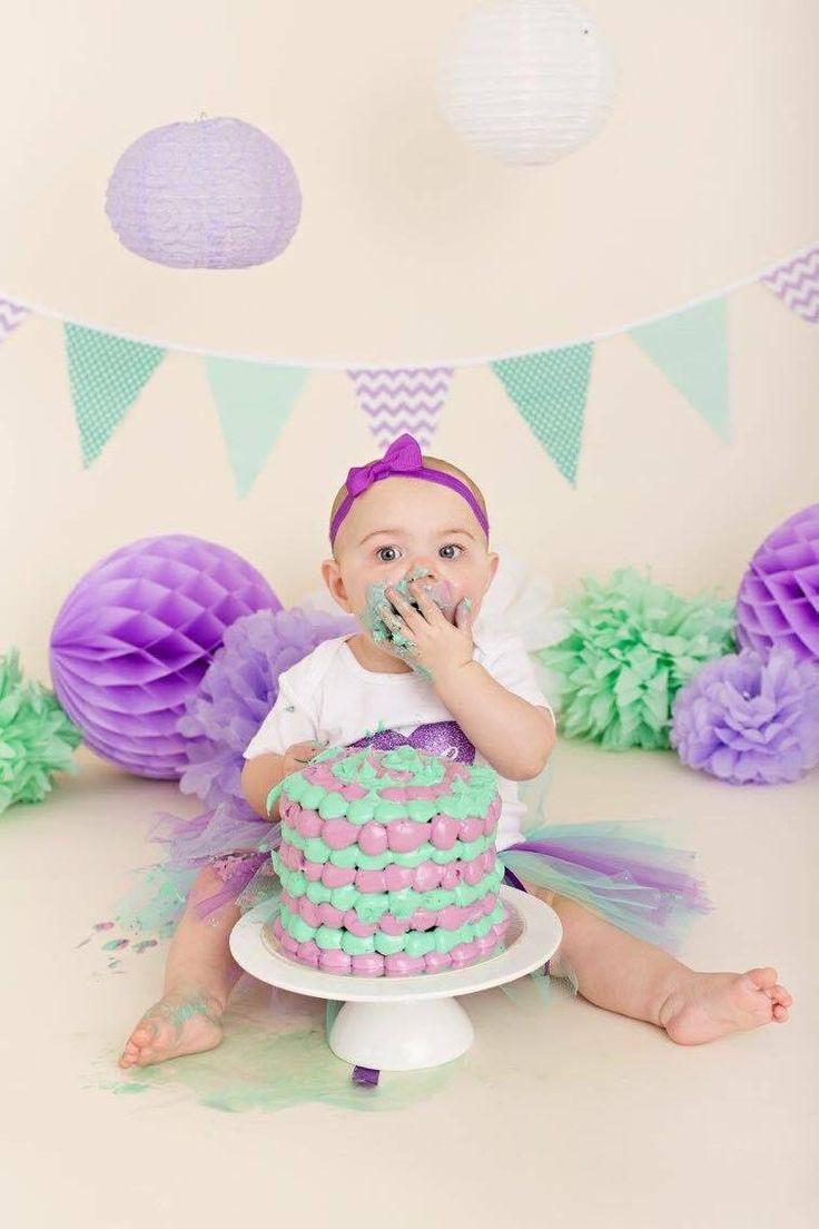 Cute Cake Smash Photo Shoot. Lilac & Mint Bunting $6.00 a metre
