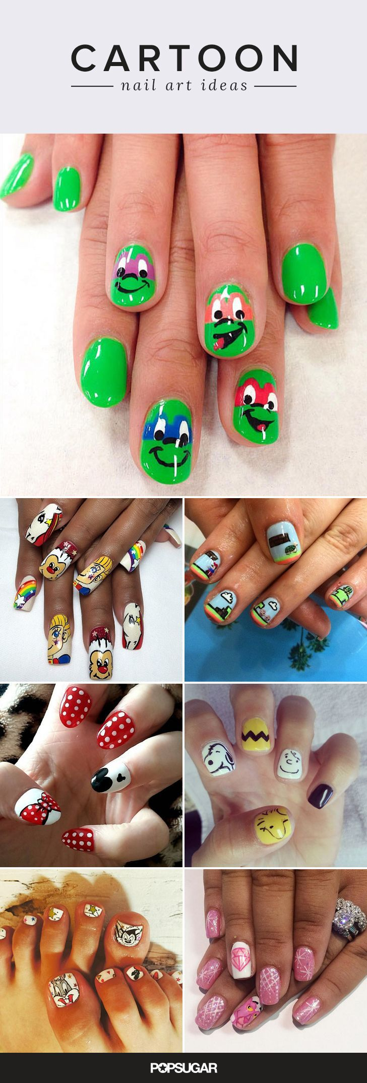 Remember the good ol' days when Saturday mornings were spent chilling in front of the TV with a bowl of Lucky Charms, and not chugging Gatorade and drawing the blinds? Of course you do. So do some of the top nail artists in the world, which is why we're suddenly seeing beloved cartoon characters like Smurfette, Dexter, and SpongeBob popping up on manicures. This trend not only has so many Halloween possibilities, but it's also a fun way to indulge our inner child. Goodness.