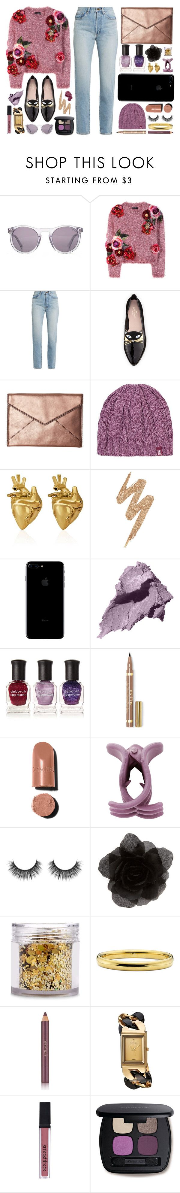 """Purple & Gold Cats"" by anushajean13 ❤ liked on Polyvore featuring HOOK LDN, Dolce&Gabbana, Yves Saint Laurent, Kate Spade, Rebecca Minkoff, Heat Holders, StrangeFruit, Urban Decay, Bobbi Brown Cosmetics and Deborah Lippmann"