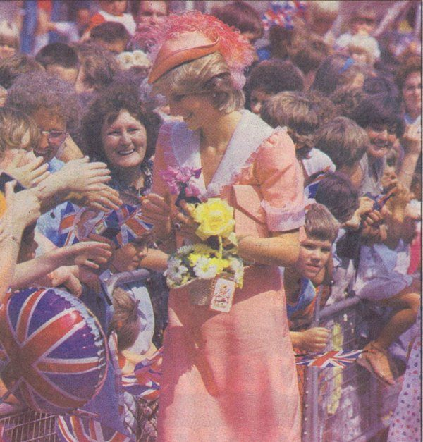 July 26, 1983: Princess Diana on a walkabout during the opening of the District General Hospital, Grimsby.