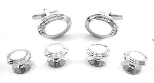 Silver White Layered Oval Cufflinks & Studs Sets CuffCrazy. $25.00. Enamel White Center. Layered Design. Polished Rhodium